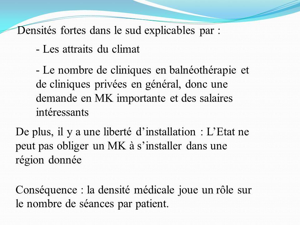 À une plus petite échelle : répartition inégale intra-régionale Les différences à lintérieur dune même région sont sûrement dues : - aux localisations des IFMK - aux différents centres de rééducation, centres hospitaliers …