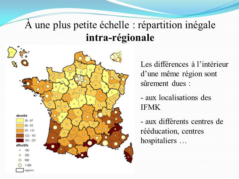 À une plus petite échelle : répartition inégale intra-régionale Les différences à lintérieur dune même région sont sûrement dues : - aux localisations