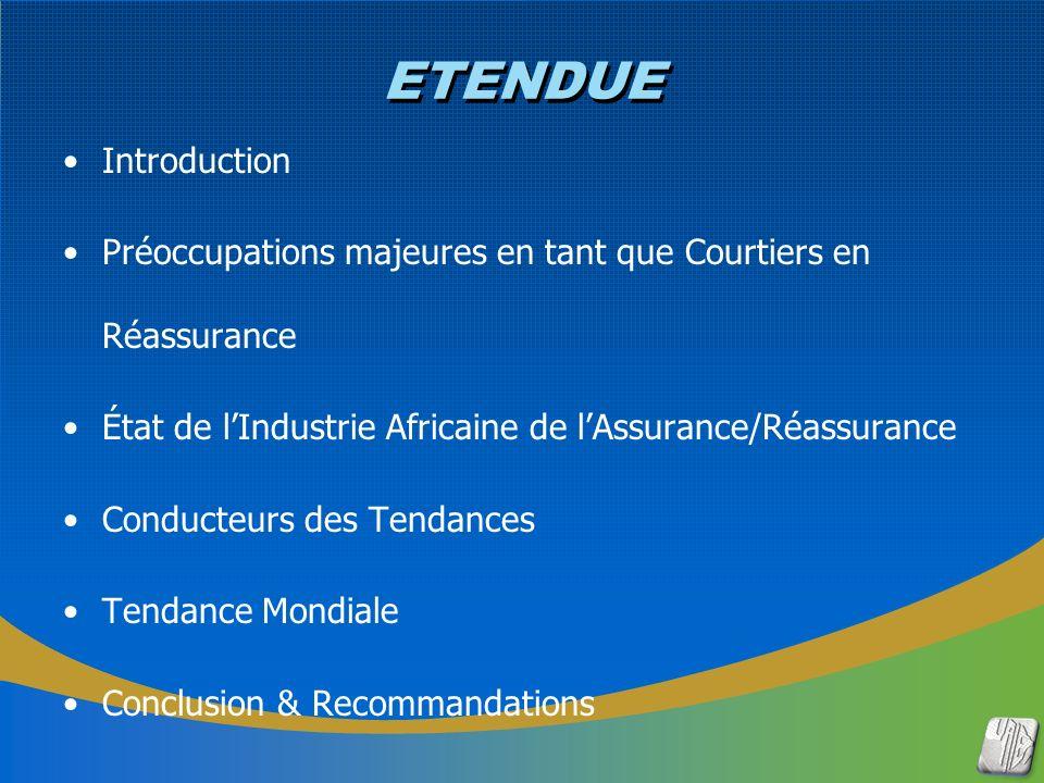 ETENDUE Introduction Préoccupations majeures en tant que Courtiers en Réassurance État de lIndustrie Africaine de lAssurance/Réassurance Conducteurs des Tendances Tendance Mondiale Conclusion & Recommandations