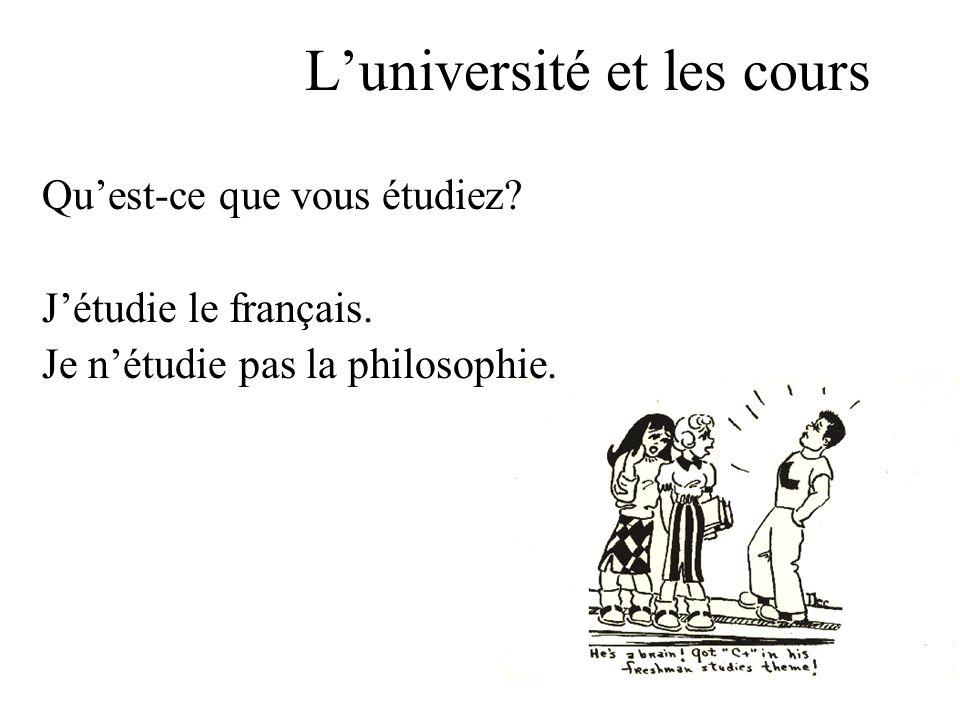Luniversité et les cours Quest-ce que vous étudiez.