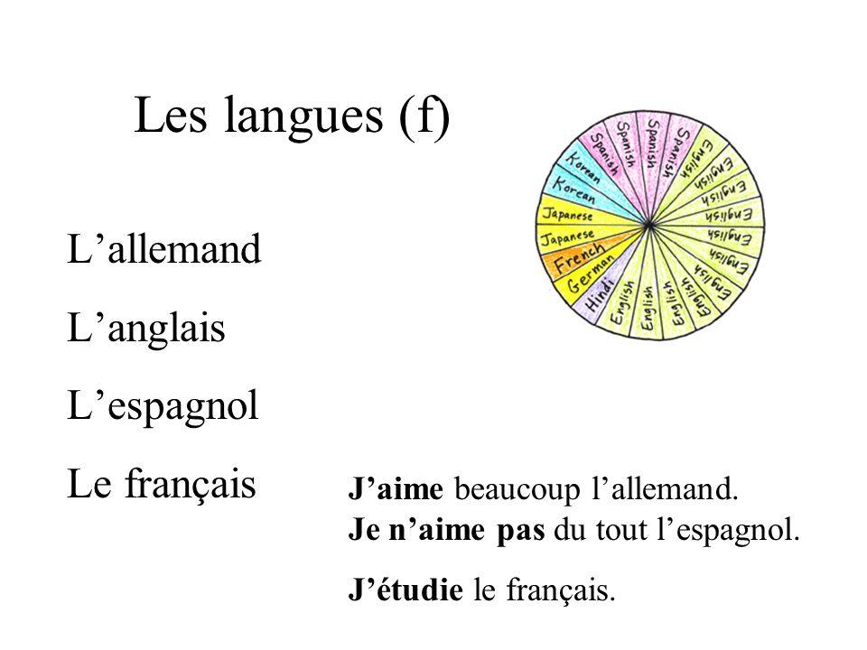 Les langues (f) Lallemand Langlais Lespagnol Le français Jaime beaucoup lallemand.