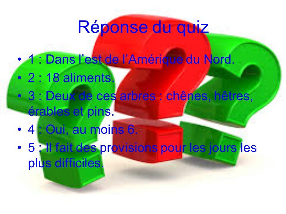 Réponse du quiz 1 : Dans lest de lAmérique du Nord. 2 : 18 aliments. 3 : Deux de ces arbres : chênes, hêtres, érables et pins. 4 : Oui, au moins 6. 5