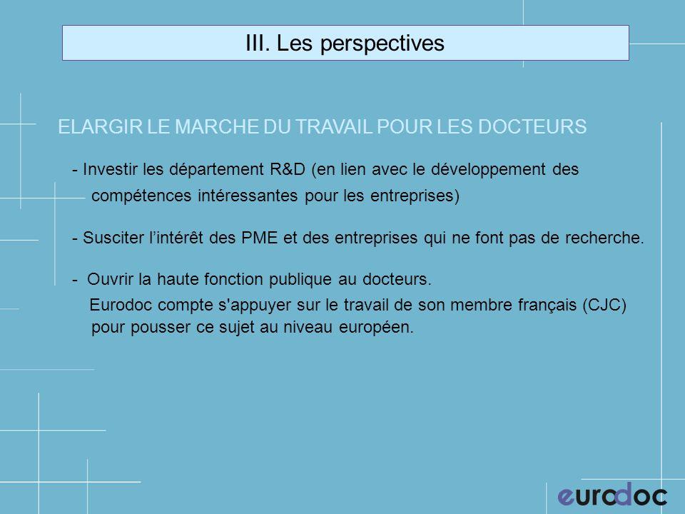 III. Les perspectives ELARGIR LE MARCHE DU TRAVAIL POUR LES DOCTEURS - Investir les département R&D (en lien avec le développement des compétences int