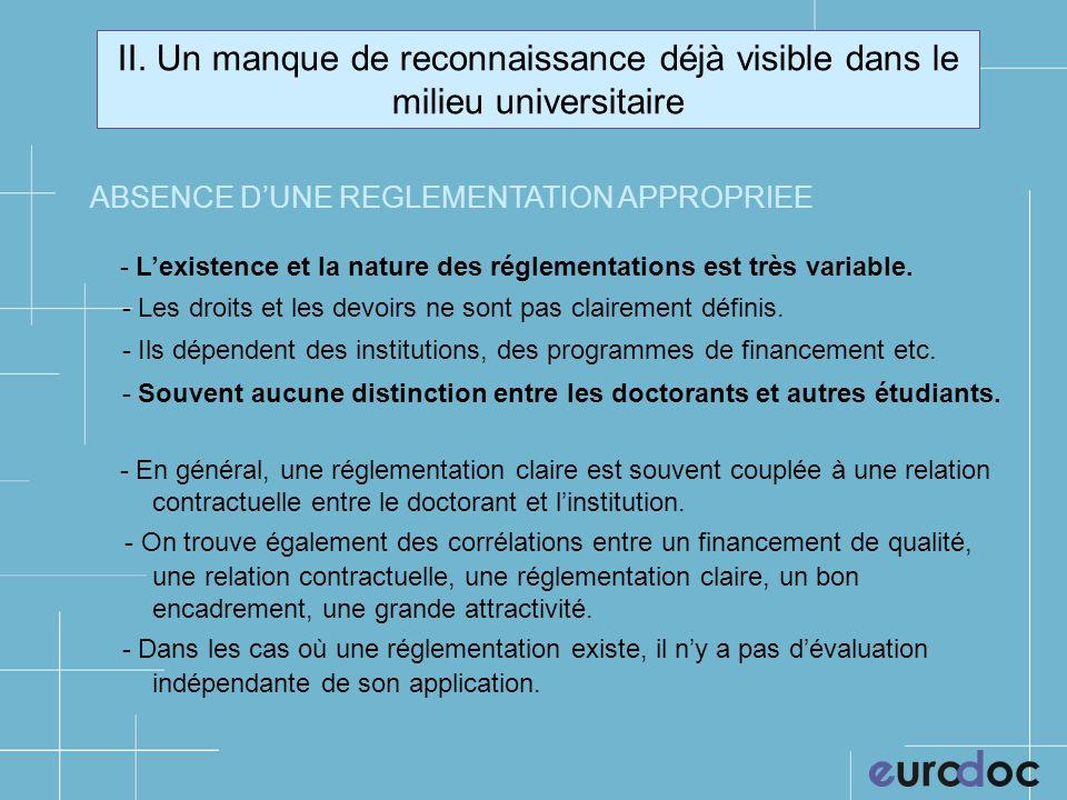 ABSENCE DUNE REGLEMENTATION APPROPRIEE - Lexistence et la nature des réglementations est très variable.