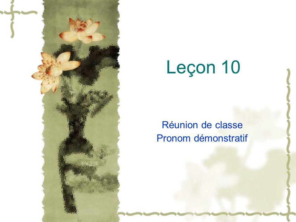 Leçon 10 Réunion de classe Pronom démonstratif