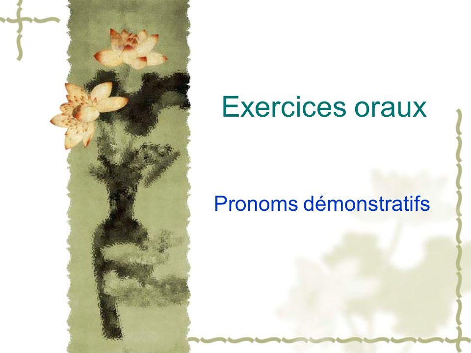 Exercices oraux Pronoms démonstratifs