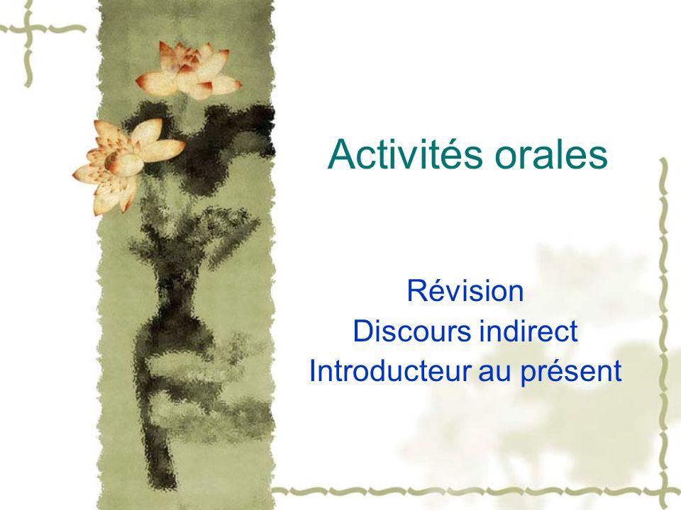 Activités orales Révision Discours indirect Introducteur au présent