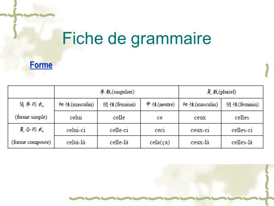 Fiche de grammaire Forme