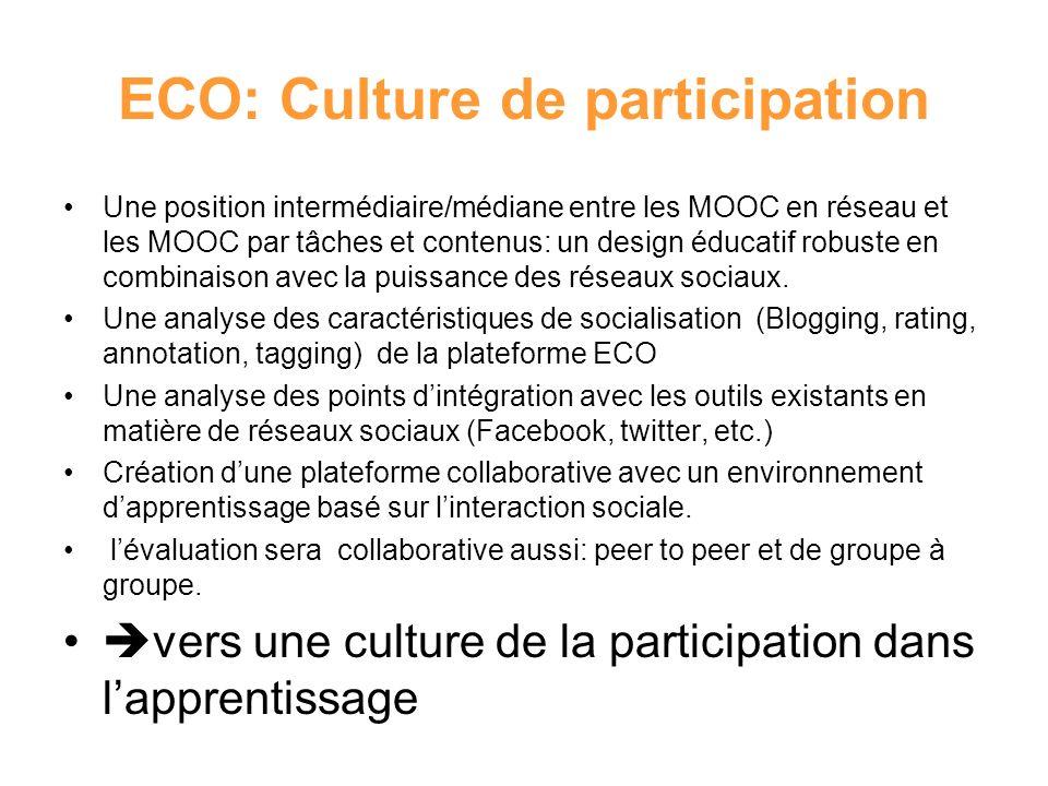 ECO: Culture de participation Une position intermédiaire/médiane entre les MOOC en réseau et les MOOC par tâches et contenus: un design éducatif robus