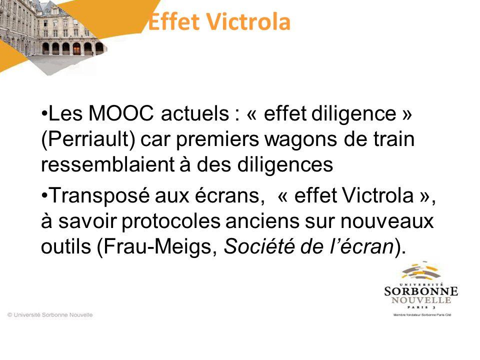 Effet Victrola Les MOOC actuels : « effet diligence » (Perriault) car premiers wagons de train ressemblaient à des diligences Transposé aux écrans, «