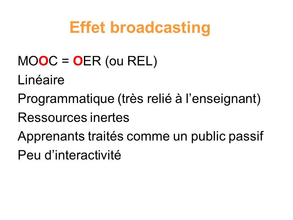 Effet broadcasting MOOC = OER (ou REL) Linéaire Programmatique (très relié à lenseignant) Ressources inertes Apprenants traités comme un public passif