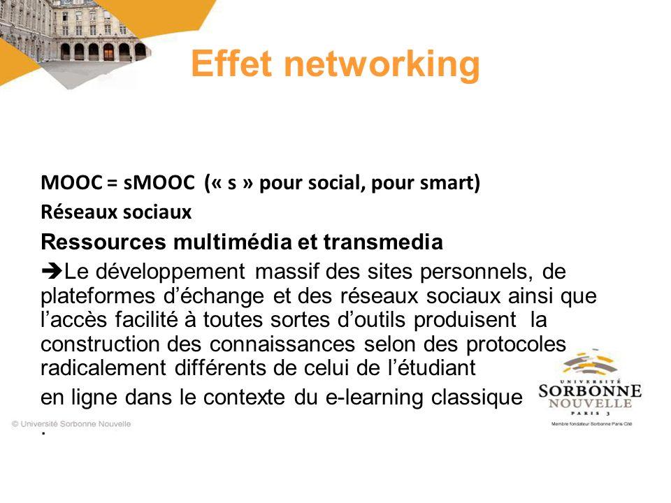 MOOC = sMOOC (« s » pour social, pour smart) Réseaux sociaux Ressources multimédia et transmedia Le développement massif des sites personnels, de pla