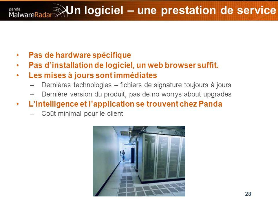 28 Un logiciel – une prestation de service Pas de hardware spécifique Pas dinstallation de logiciel, un web browser suffit.