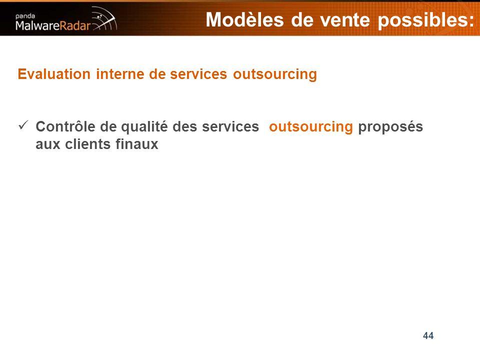 44 Modèles de vente possibles: Evaluation interne de services outsourcing Contrôle de qualité des services outsourcing proposés aux clients finaux