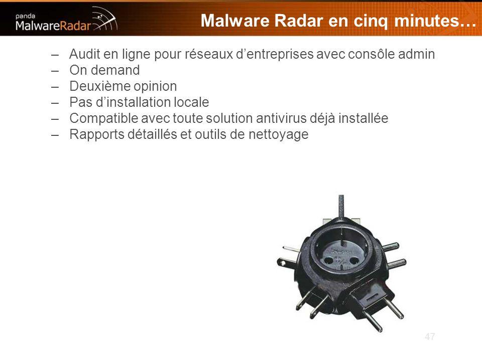 47 Malware Radar en cinq minutes… –Audit en ligne pour réseaux dentreprises avec consôle admin –On demand –Deuxième opinion –Pas dinstallation locale –Compatible avec toute solution antivirus déjà installée –Rapports détaillés et outils de nettoyage