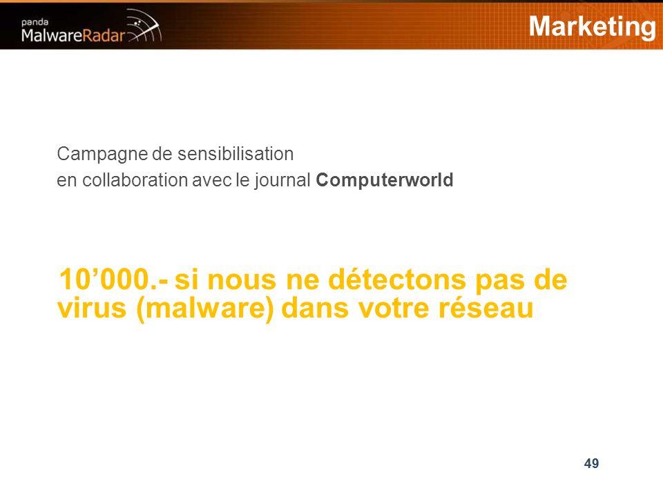 49 Marketing 49 Campagne de sensibilisation en collaboration avec le journal Computerworld 10000.- si nous ne détectons pas de virus (malware) dans votre réseau