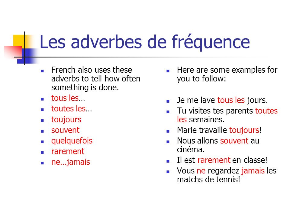 Les adverbes de fréquence French also uses these adverbs to tell how often something is done.