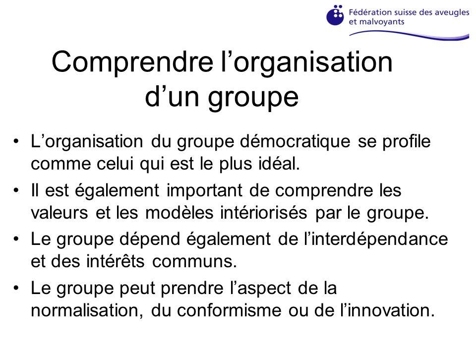 Comprendre lorganisation dun groupe Lorganisation du groupe démocratique se profile comme celui qui est le plus idéal.