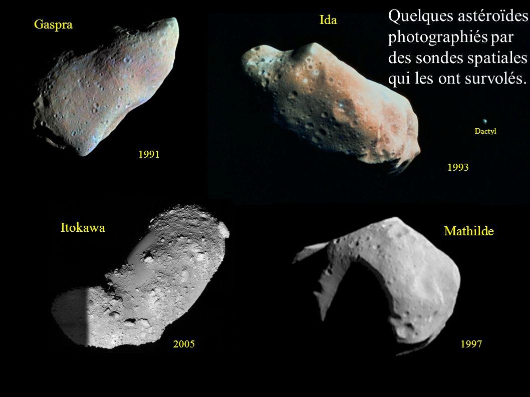 Gaspra 1991 Ida Dactyl 1993 Mathilde 1997 Itokawa 2005 Quelques astéroïdes photographiés par des sondes spatiales qui les ont survolés.
