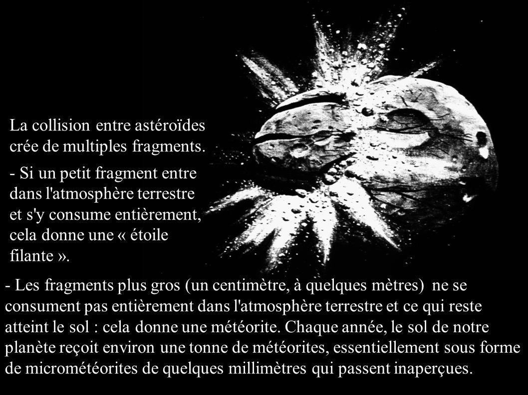 - Les fragments plus gros (un centimètre, à quelques mètres) ne se consument pas entièrement dans l'atmosphère terrestre et ce qui reste atteint le so