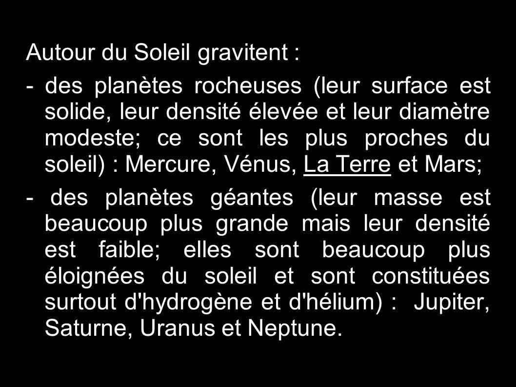 Autour du Soleil gravitent : - des planètes rocheuses (leur surface est solide, leur densité élevée et leur diamètre modeste; ce sont les plus proches