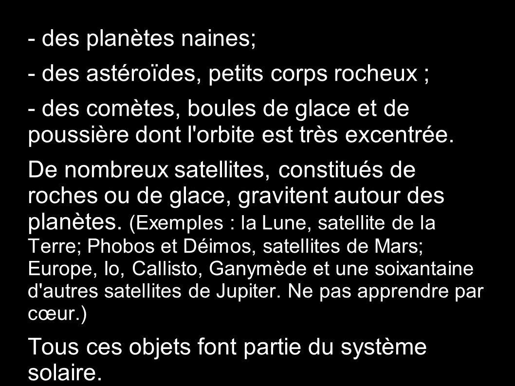- des planètes naines; - des astéroïdes, petits corps rocheux ; - des comètes, boules de glace et de poussière dont l'orbite est très excentrée. De no