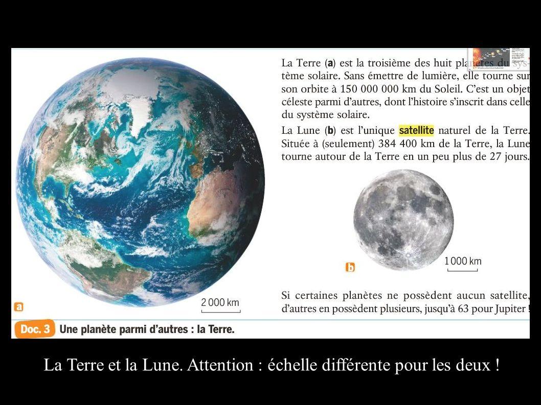 La Terre et la Lune. Attention : échelle différente pour les deux !