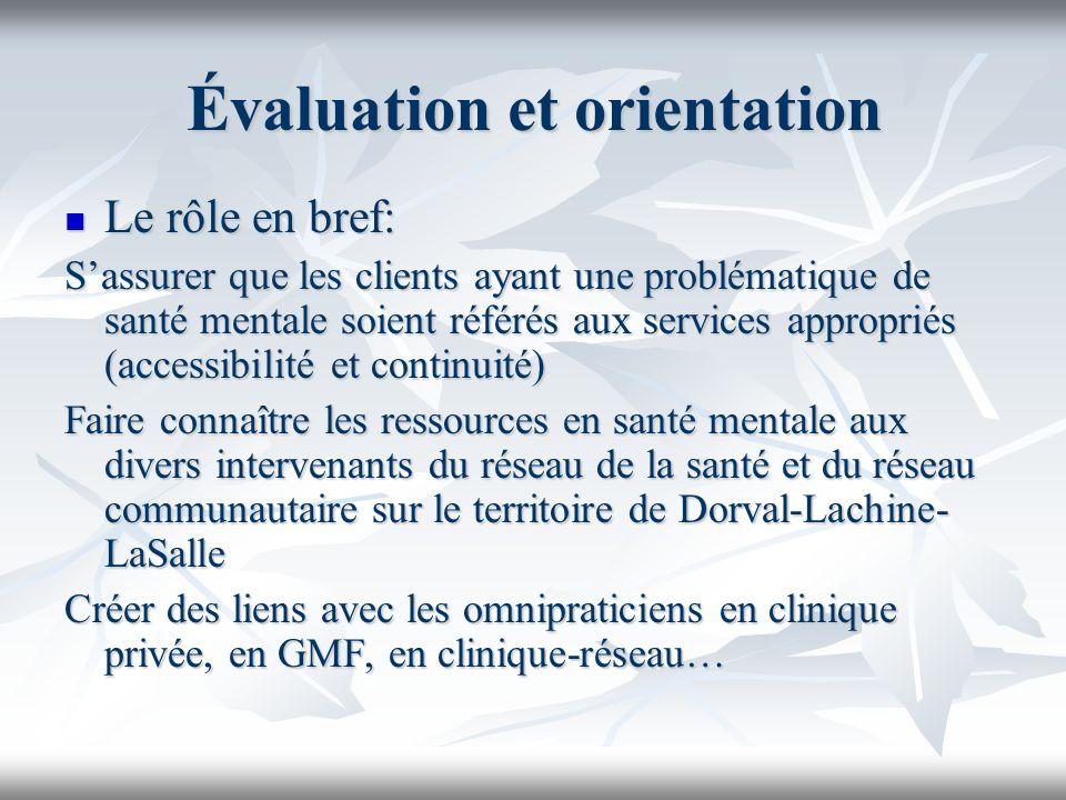 Évaluation et orientation Le rôle en bref: Le rôle en bref: Sassurer que les clients ayant une problématique de santé mentale soient référés aux servi