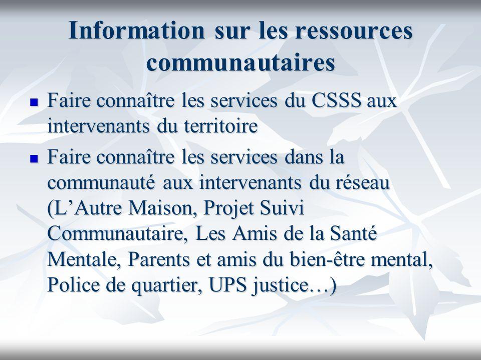 Information sur les ressources communautaires Faire connaître les services du CSSS aux intervenants du territoire Faire connaître les services du CSSS