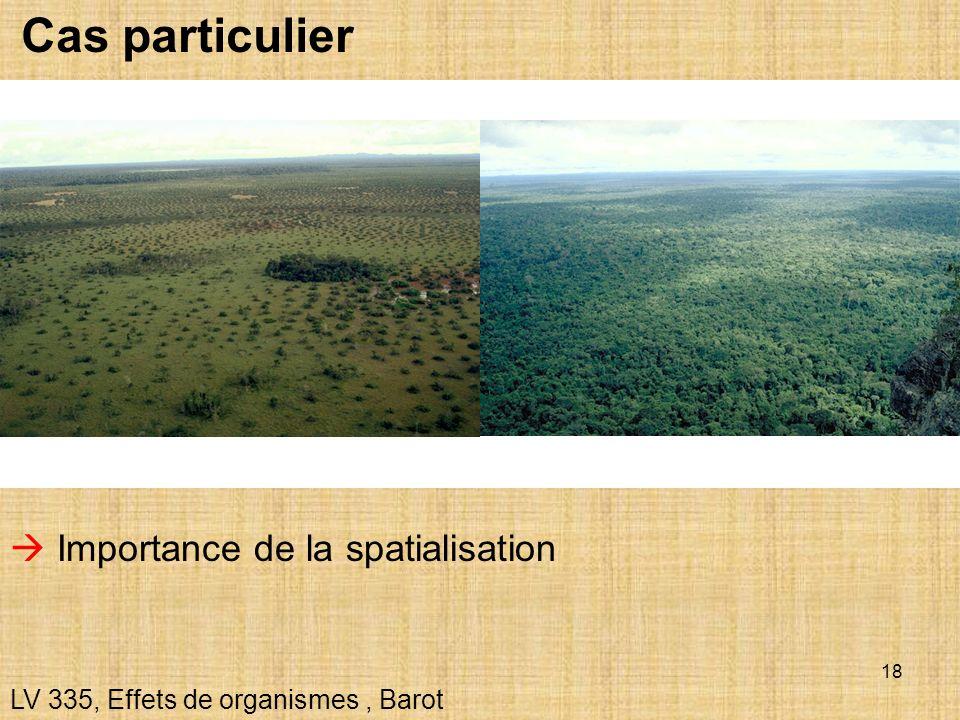 18 Cas particulier LV 335, Effets de organismes, Barot Importance de la spatialisation