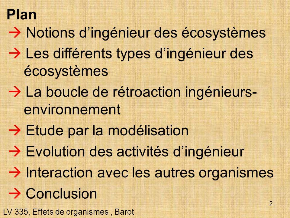 2 Notions dingénieur des écosystèmes Les différents types dingénieur des écosystèmes La boucle de rétroaction ingénieurs- environnement Etude par la m