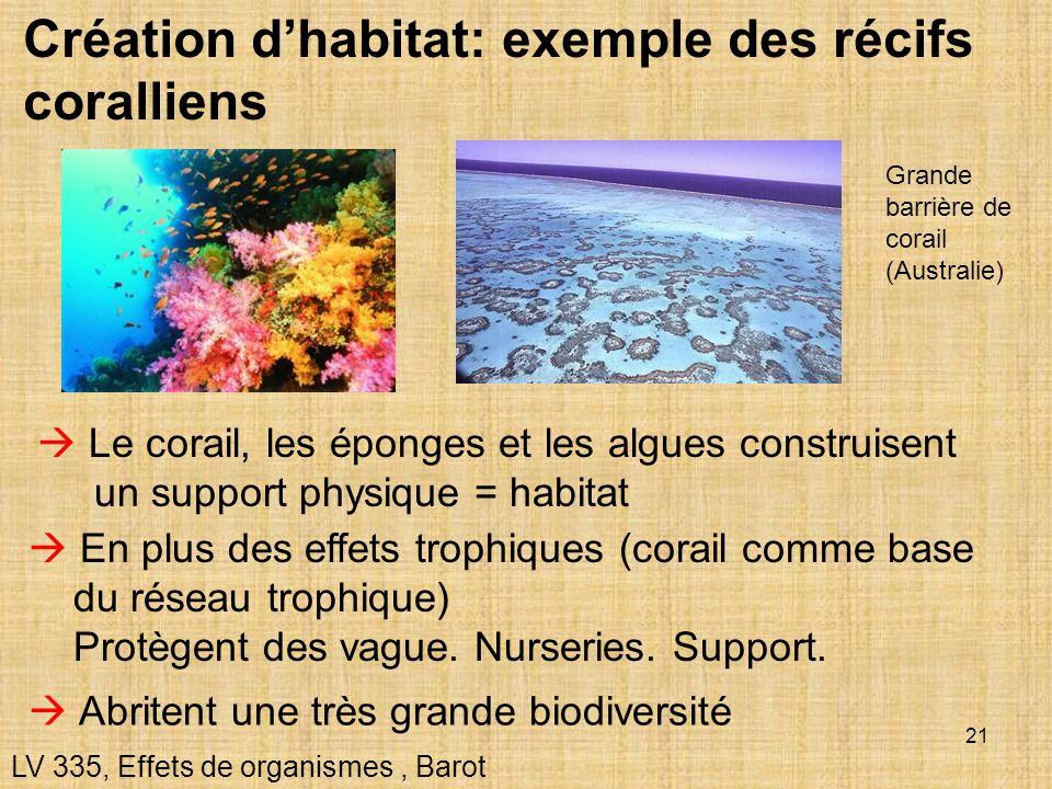 21 Création dhabitat: exemple des récifs coralliens LV 335, Effets de organismes, Barot Le corail, les éponges et les algues construisent un support p