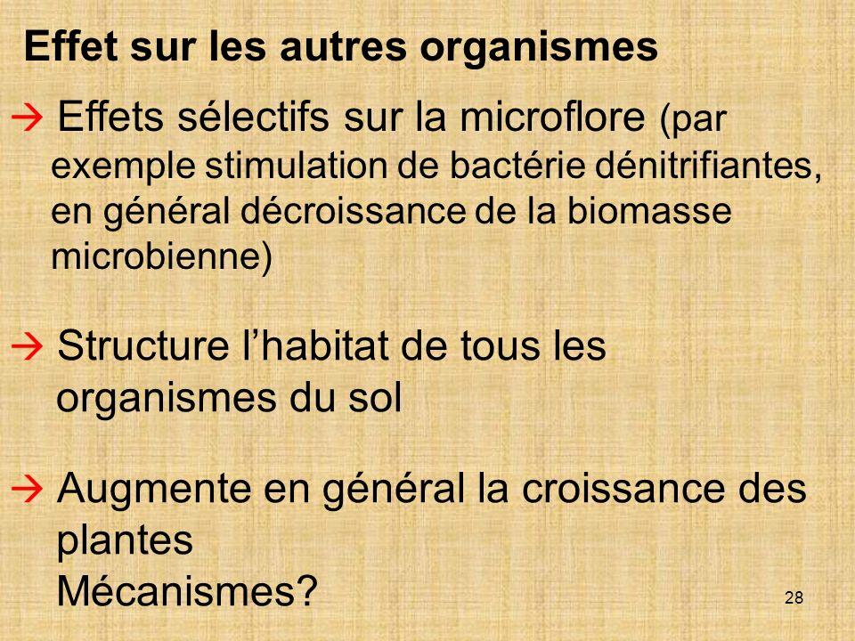28 Effets sélectifs sur la microflore (par exemple stimulation de bactérie dénitrifiantes, en général décroissance de la biomasse microbienne) Structu