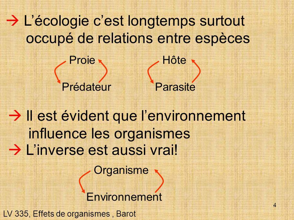 4 Lécologie cest longtemps surtout occupé de relations entre espèces Il est évident que lenvironnement influence les organismes LV 335, Effets de orga