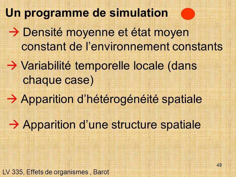 49 Un programme de simulation LV 335, Effets de organismes, Barot Densité moyenne et état moyen constant de lenvironnement constants Apparition dhétér