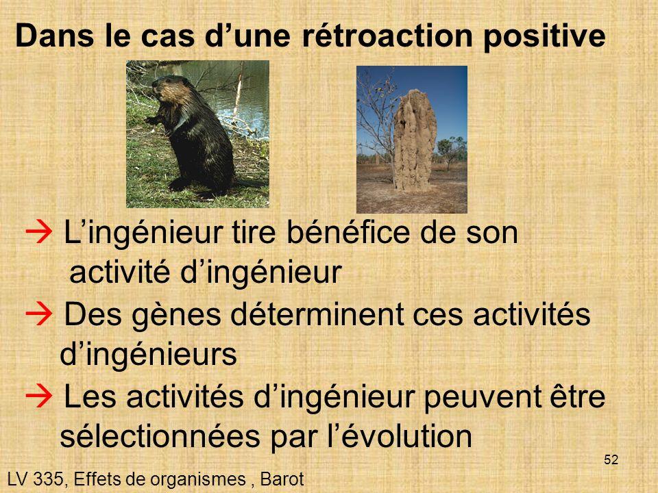 52 Dans le cas dune rétroaction positive LV 335, Effets de organismes, Barot Lingénieur tire bénéfice de son activité dingénieur Des gènes déterminent