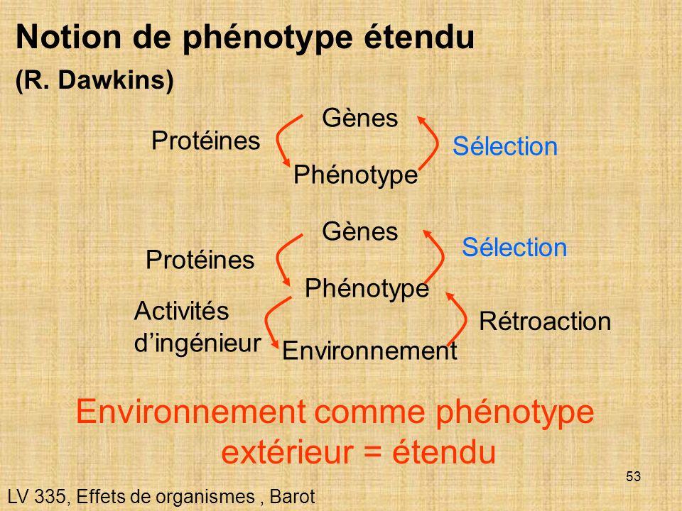 53 Notion de phénotype étendu (R. Dawkins) LV 335, Effets de organismes, Barot Environnement comme phénotype extérieur = étendu Gènes Phénotype Protéi