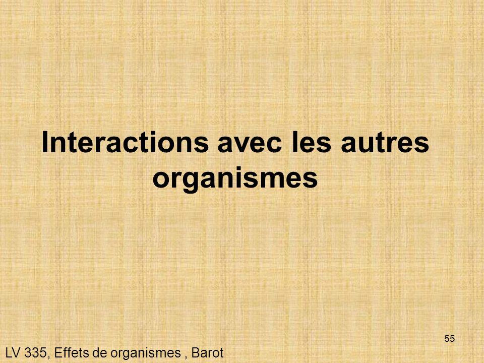 55 Interactions avec les autres organismes LV 335, Effets de organismes, Barot