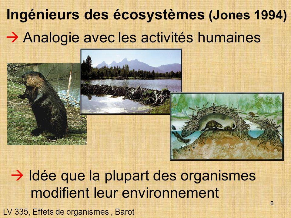6 Analogie avec les activités humaines LV 335, Effets de organismes, Barot Ingénieurs des écosystèmes (Jones 1994) Idée que la plupart des organismes