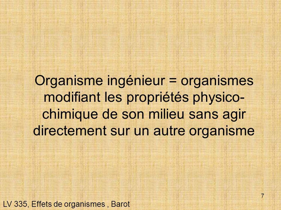 7 LV 335, Effets de organismes, Barot Organisme ingénieur = organismes modifiant les propriétés physico- chimique de son milieu sans agir directement