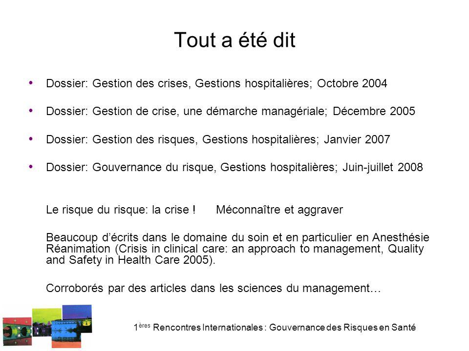 1 ères Rencontres Internationales : Gouvernance des Risques en Santé Expérimentation de signalement 75 événements signalés (source GH 2007 D Peton Klein)