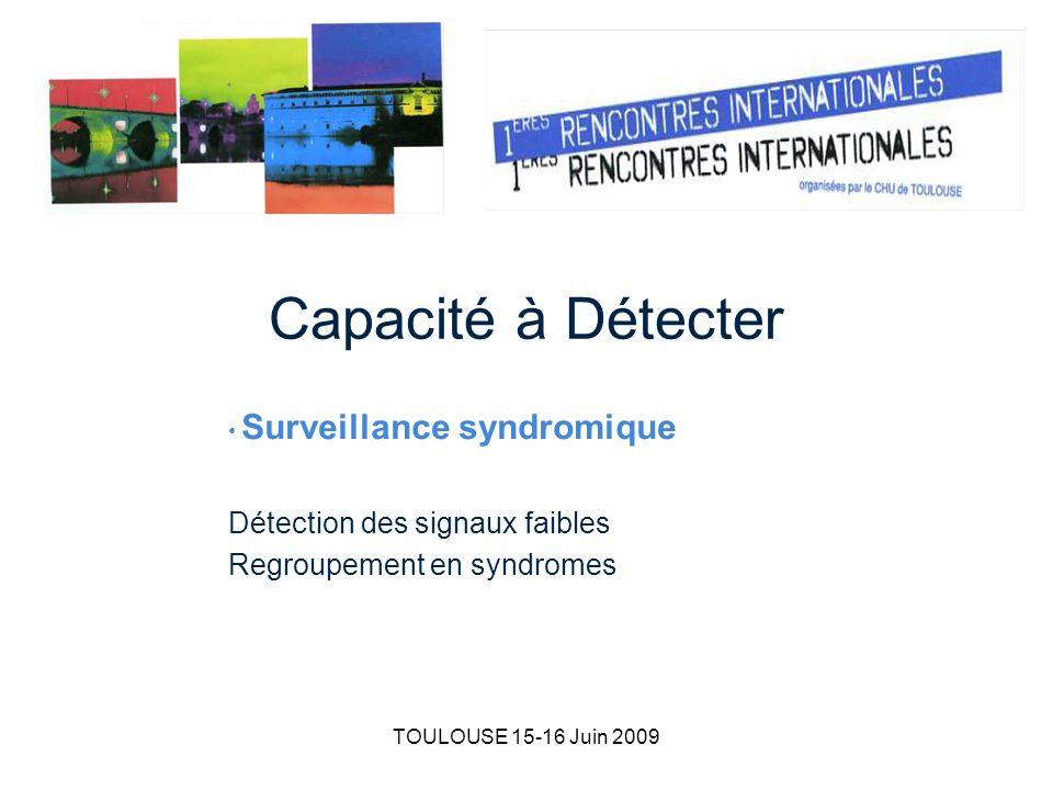 TOULOUSE 15-16 Juin 2009 Capacité à Détecter Surveillance syndromique Détection des signaux faibles Regroupement en syndromes