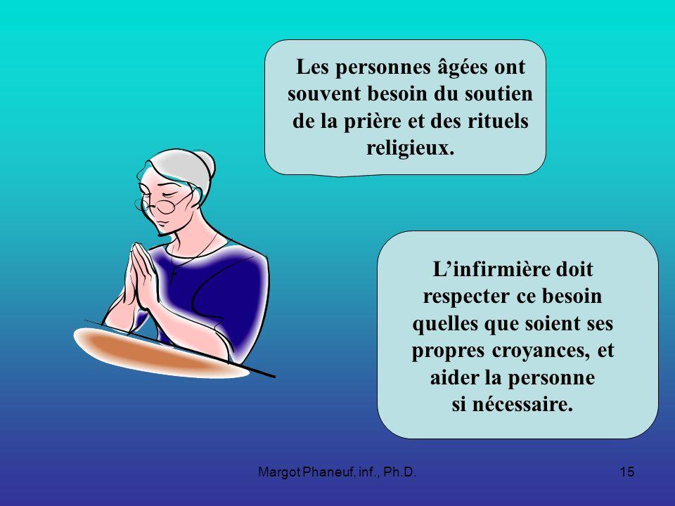 Margot Phaneuf, inf., Ph.D.15 Les personnes âgées ont souvent besoin du soutien de la prière et des rituels religieux.