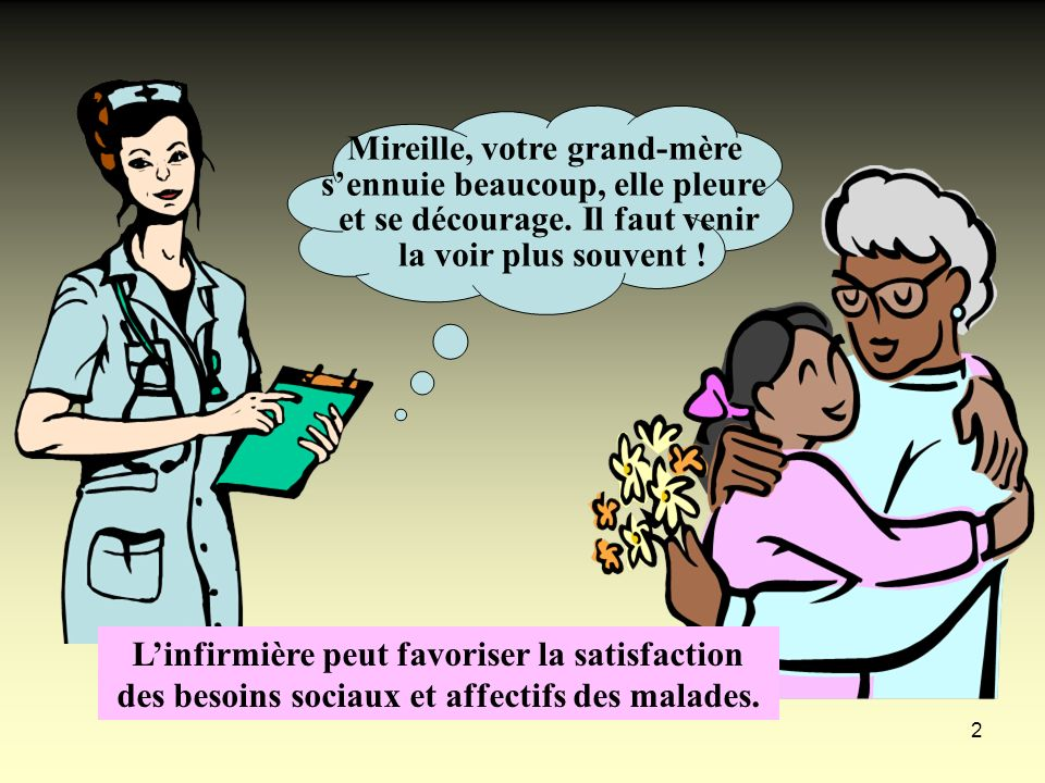 2 Mireille, votre grand-mère sennuie beaucoup, elle pleure et se décourage. Il faut venir la voir plus souvent ! Linfirmière peut favoriser la satisfa