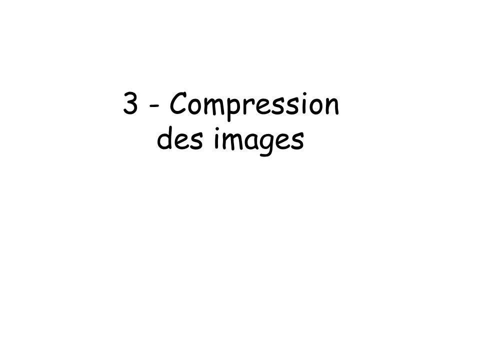 3 - Compression des images