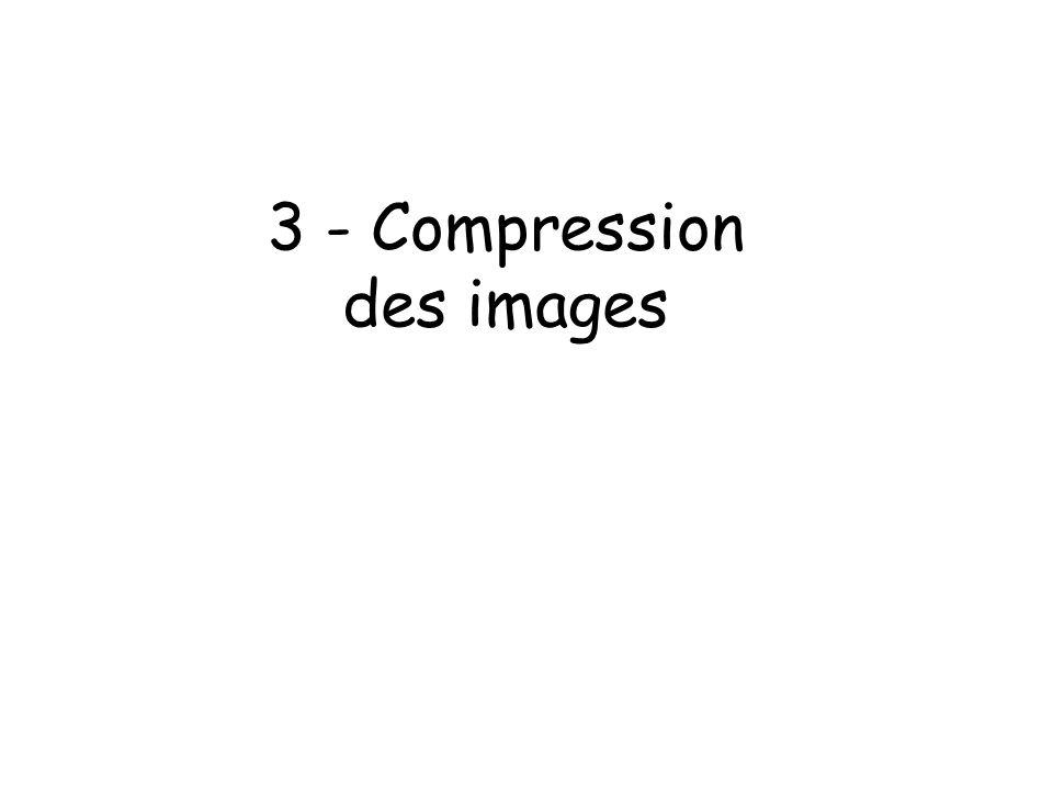 Plan Codage Luminance-Chrominance Compression non destructrice –Par entropie –Huffman –RLE Compression avec perte –DCT –Norme JPEG Compression de séquences dimages –Compression temporelle –MPEG 1, 2 et 4
