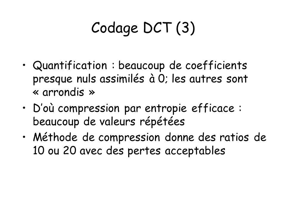 Codage DCT (3) Quantification : beaucoup de coefficients presque nuls assimilés à 0; les autres sont « arrondis » Doù compression par entropie efficac