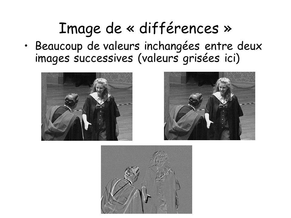 Image de « différences » Beaucoup de valeurs inchangées entre deux images successives (valeurs grisées ici)