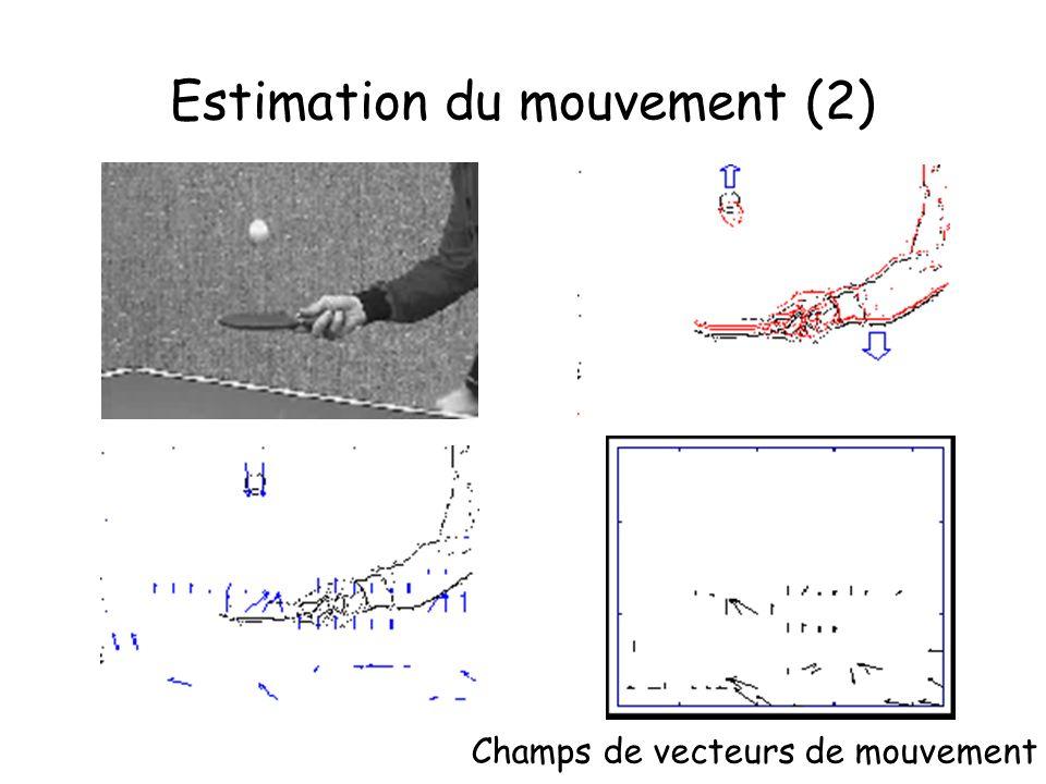 Estimation du mouvement (2) Champs de vecteurs de mouvement