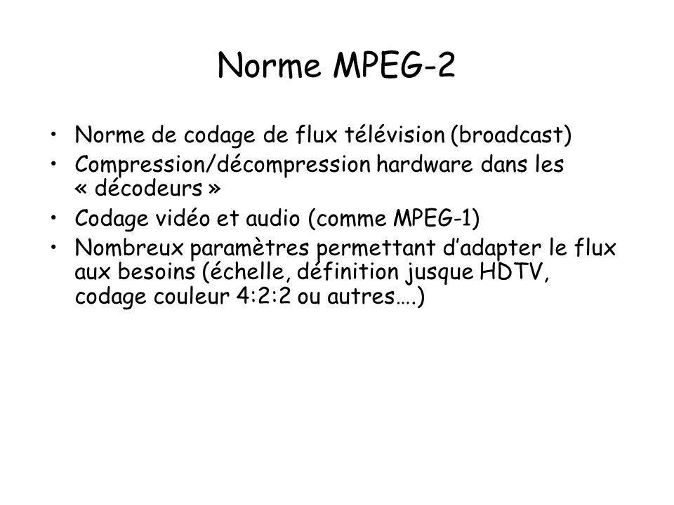 Norme MPEG-2 Norme de codage de flux télévision (broadcast) Compression/décompression hardware dans les « décodeurs » Codage vidéo et audio (comme MPE